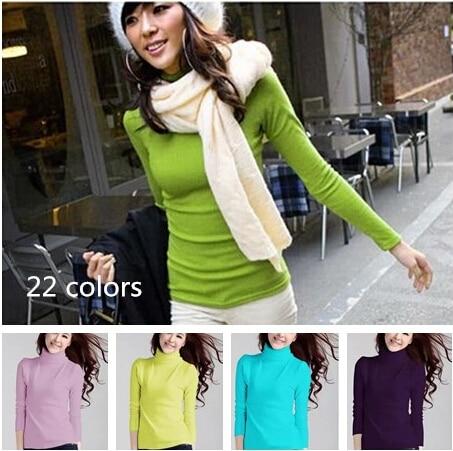 2014 nový horký prodej podzim zimní žena štíhlý svetr all-match dámské halenka rolák pulovr pletené svetry 22 barev