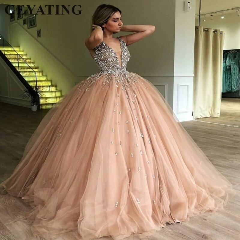 Champagne Tulle Ball Gown Evening Dress 2019 Long Elegant Women Formal Dress Heavy Beaded Crystal Deep V-Neck Sweet 16 Dresses