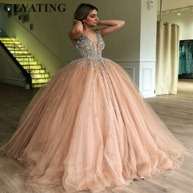 Champagne Tulle Ball Gown   Evening     Dress   2019 Long Elegant Women Formal   Dress   Heavy Beaded Crystal Deep V-Neck Sweet 16   Dresses