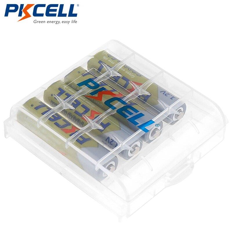 4 PCS 3A PKCELL AAA 1.2 V Bateria 1000 mAh Ni-MH Pilhas AAA Bateria Recarregável Bateria de 1.2 Volts Baterias + 1 caixa de caixa de bateria