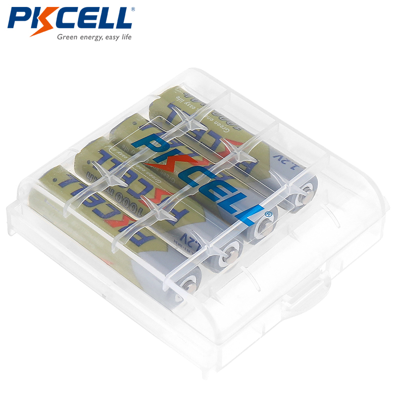 4 stücke PKCELL AAA Batterie 1,2 v 1000 mah Ni-Mh 3A 1,2 Volt AAA Akku Batterien Bateria Baterias + 1 batterie Fall box
