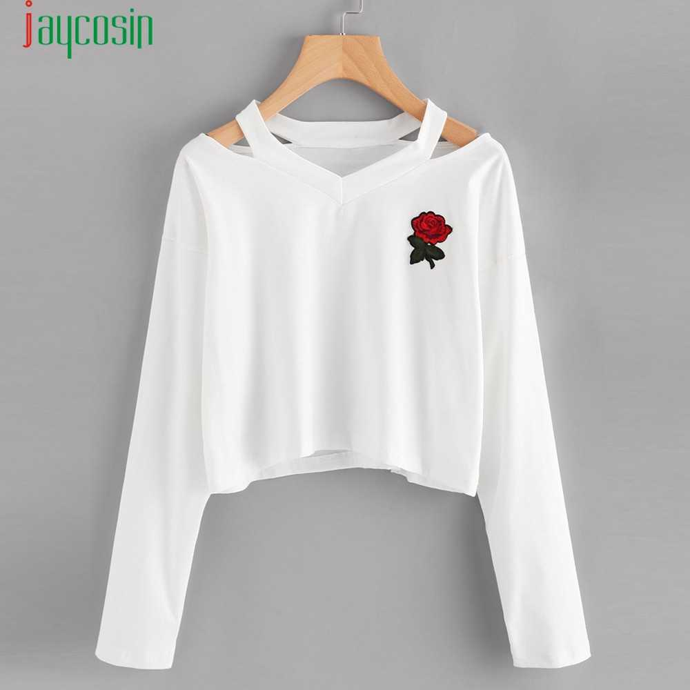 White Fasion Women Casual Long Sleeve Blouse Rose Print  Sling Sweatshirt  Short Tops Blouse Felpe Tumblr free ship  SE0805