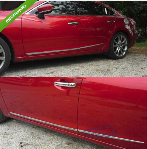Chrome Body Side Door Moulding Trim Overlay cover For 2014 Mazda 6 ATENZA M6 body shield body side cover black points