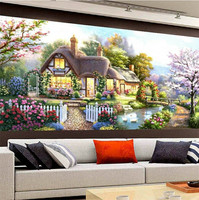 2017 Diy 5d Diamond Painting Garden Bungalow Landscapes Mosaic Cross Stitch Kits Diamonds Painting Embroidery Home