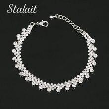 Fashion Brand Designer Charming Bride Wedding Crystal Bracelet  Full Rhinestone Silver Plated Link Bracelet Bangle charming rhinestone leaf cross bracelet