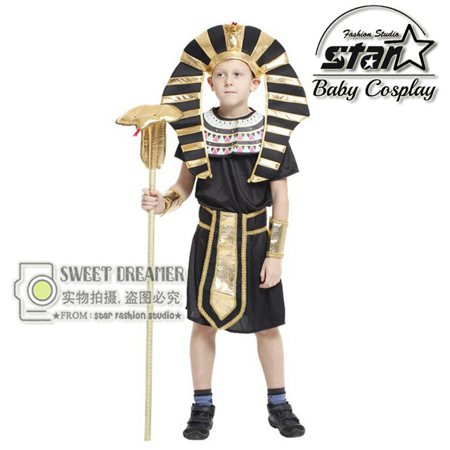 Children Egyptian Pharaoh Costumes 2016 New Cosplay Masquerade Halloween Childen Kid Suit Cleopatra Royal Fantasia Disfraces