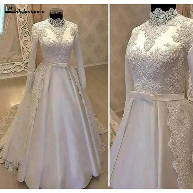 6ab0bc74e5 US $309.72 11% OFF|Vintage High Neck Muslim Wedding Dresses 2019 With Long  Sleeve Lace Overskirts Satin Country Bridal Gowns With Belt-in Wedding ...