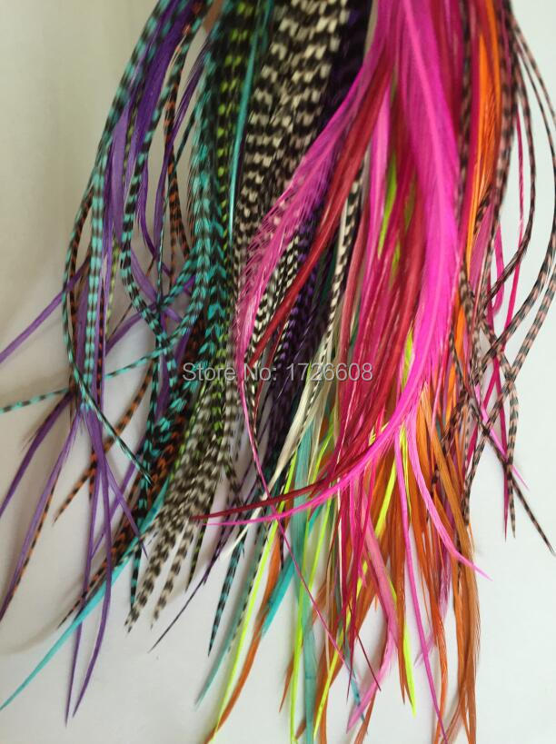 Sexy Sparkles Feather Hair Extensions 100% Real Rooster Feathers Long  Rainbow Colors Natural Plume Hair Grizzly Rooster Feather 20cbc2f24f1d