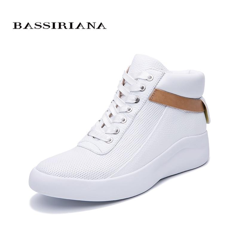 BASSIRIANA 2019 جديد الطبيعي جلد حذاء مسطح سميكة أسفل مريحة عارضة أحذية نسائية اللون الوردي أسود أبيض حجم 35 40-في أحذية نسائية مسطحة من أحذية على  مجموعة 3
