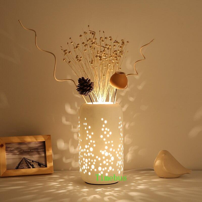 Creative Desk Lamp Fashion Ceramic Table Lamp Romantic Bedroom Flower Arranging Desk Lamp Bedroom Livingroom Study led Desk Lamp