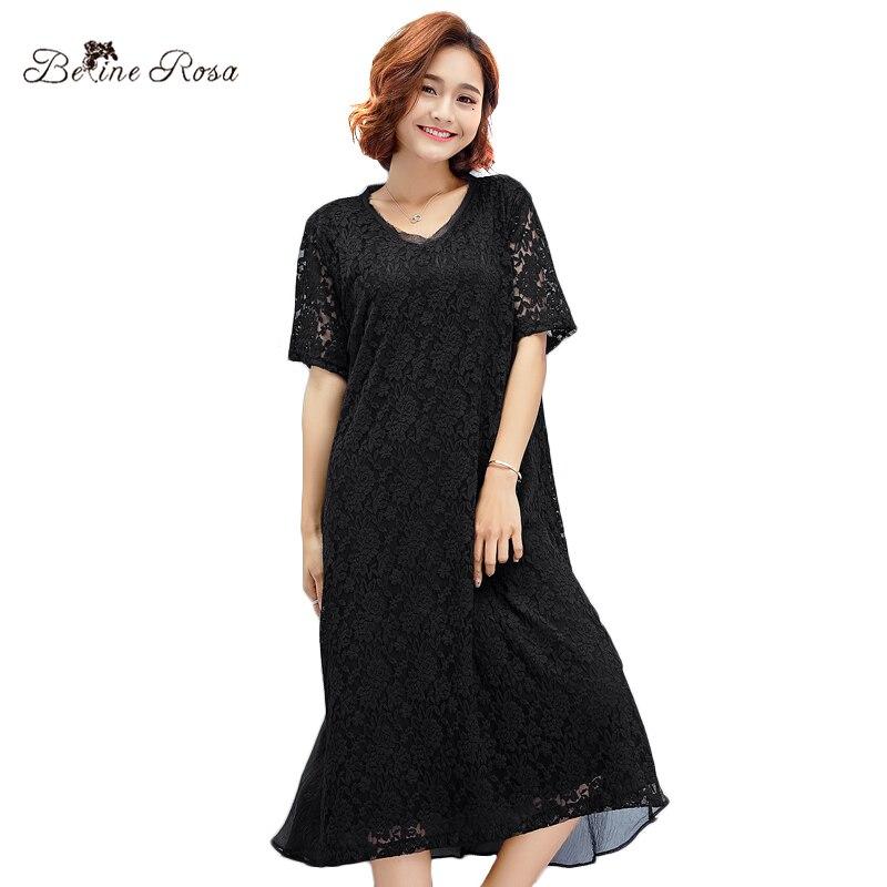 237685d0a8 BelineRosa 2018 Women s Plus Size Lace Dresses Loose Style Pure Color Knee  Length Simple Black Dress