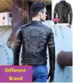 DHL Free shipping.Brand clothing vintage slim skull Jackets men's top genuine Leather biker jacket.motorcycle Fitness