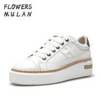 Black White Leather Casual Shoes Women Round Toe Lace Up Platform Sneakers Sewing Upper Footwear All Match Zapatos de Mujer
