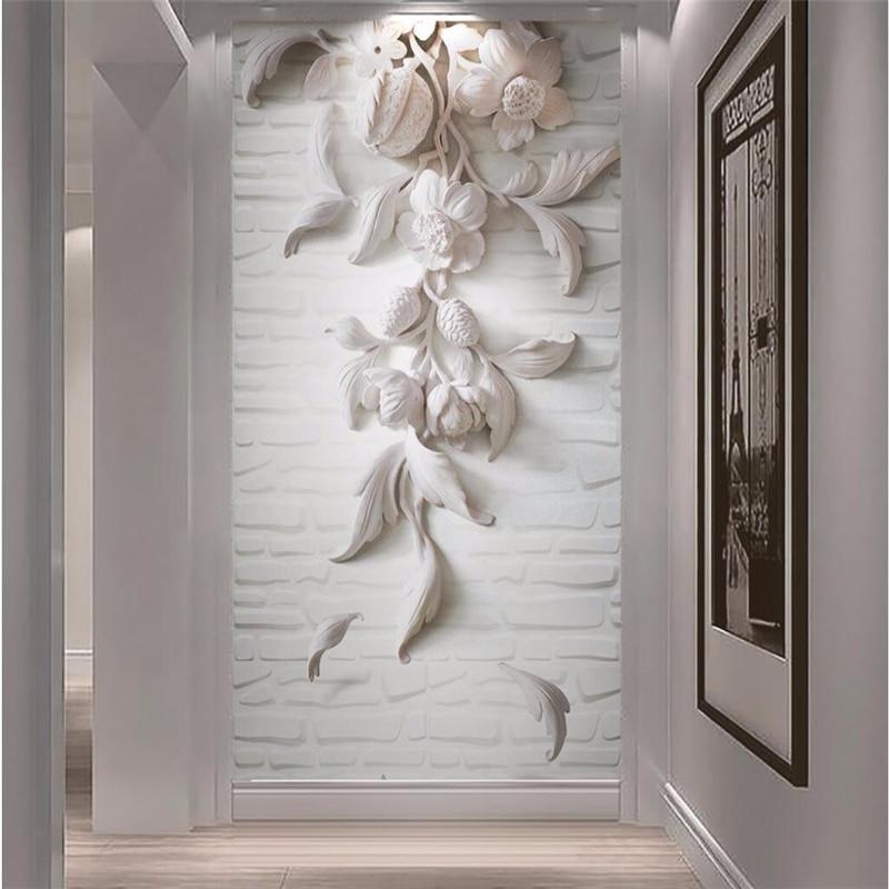 Beibehang Wall Paper 3d Flooring Art Mural White Flowers