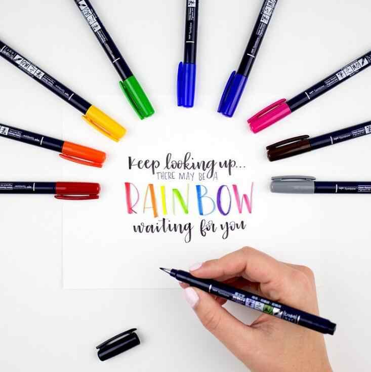 Tombow Pinsel Stifte Scriptliner Wasser-Auf Wasserbasis Pigment Tinte Kalligraphie Schriftzug Pinsel Marker Stifte Marker Fudenosuke Stifte Japan