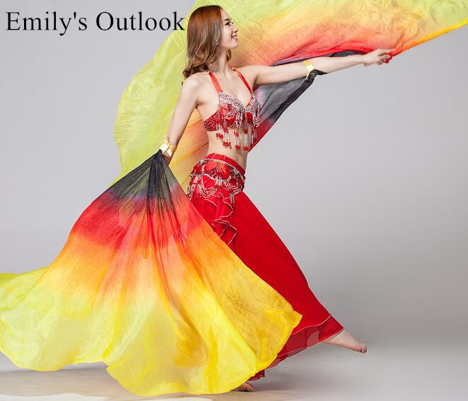 Real Silk Half Circle Belly Dance Silk Veil Isis Wings Stage Performance Props Egyptian Wing With