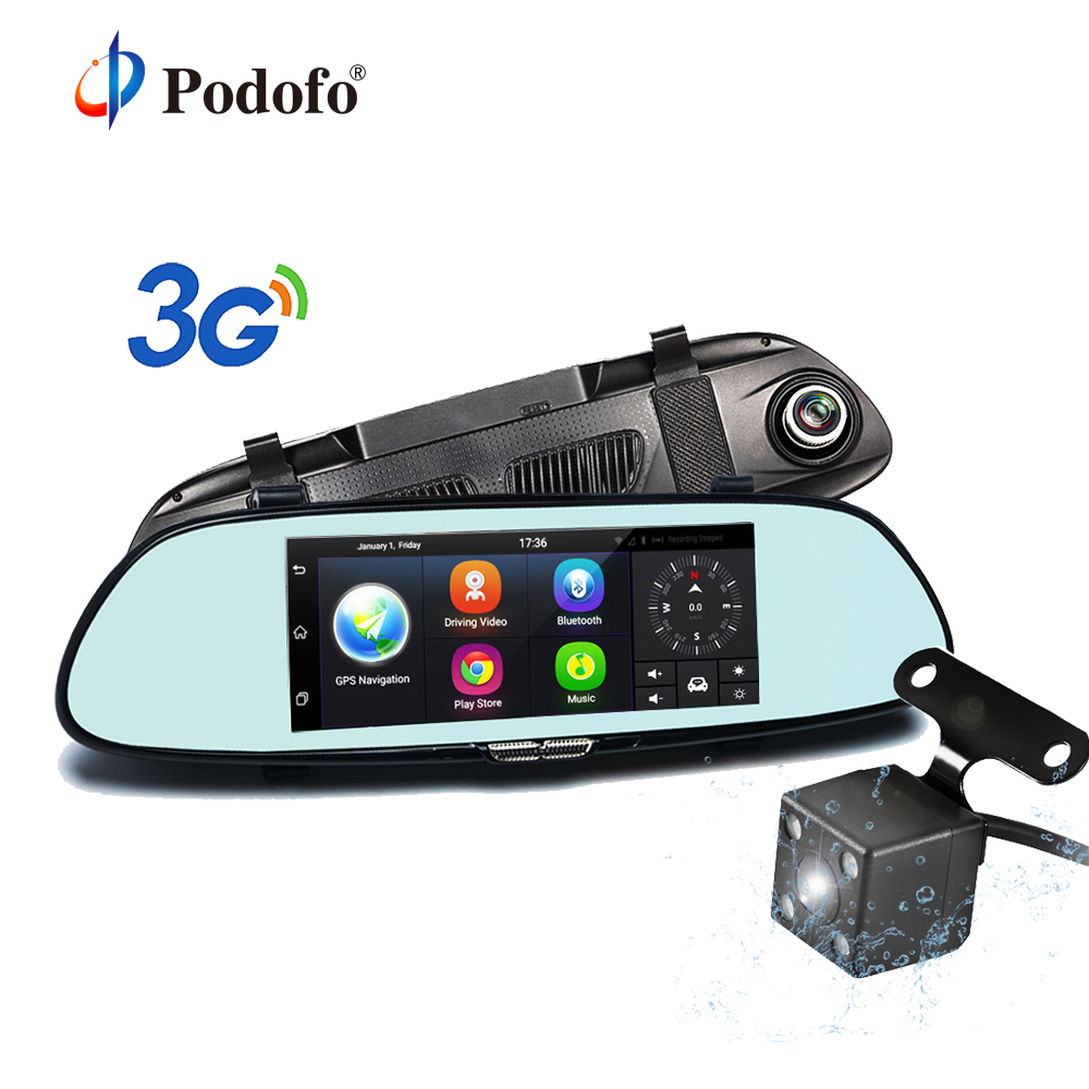 Podofo 7 Car GPS Navigation Android 5.0 Special 3G DVR Camera Bluetooth Dual Lens Rearview Mirror Video Recorder Registrar hot sale android 5 0 car dvr wireless 3g wcdma b1 2100 dual lens camera rearview mirror gps navigation 7 0 ips touch screen