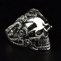 Ювелирные украшения для мужчин ретро 925 Серебряные кольца похоронные череп кольцо