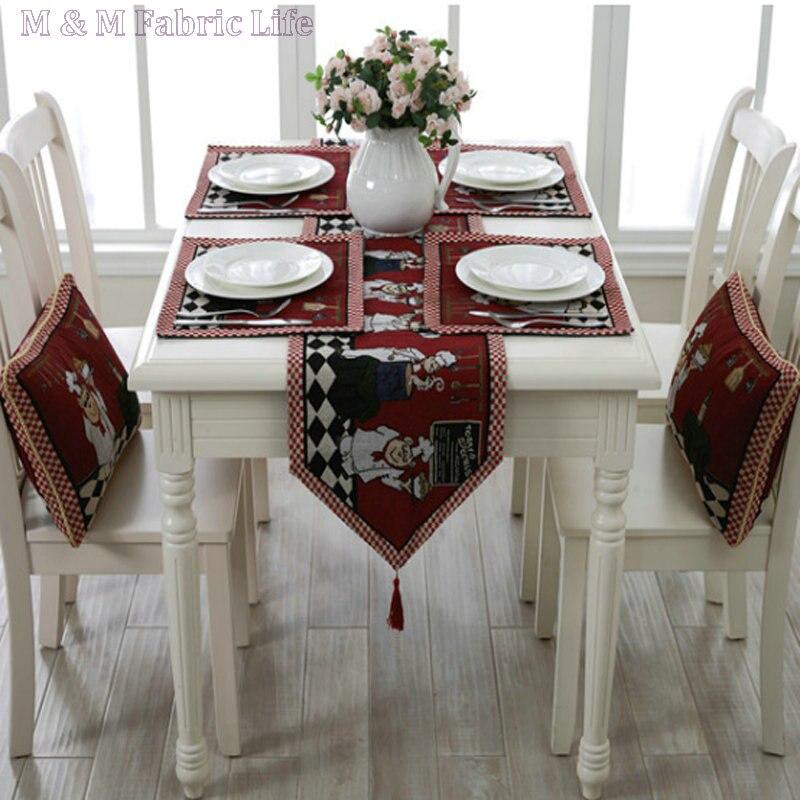 Ensemble de décoration de Table en coton polyester tissu rétro dessin animé motif fil teint chemin de table serviette de table tapis de table canapé coussin