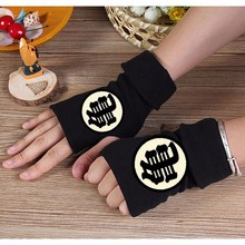 2019 Unisex Winter Cotton Gloves Fingerless Anime Dragon Ball Glove Cartoon Master Roshi Printing Black Mitten Cosplay Gift