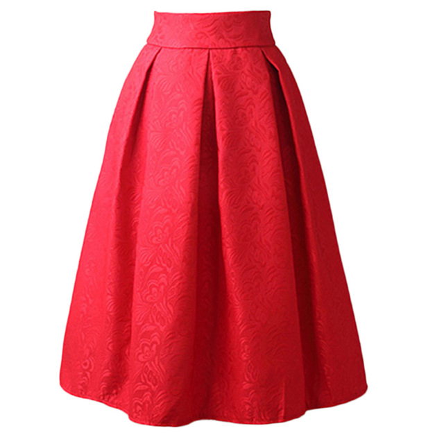 Women Skirts High Waist Pleated Midi 2017 Spring Summer  Vintage Skirt Work Wear Hepburn Skirts Lady  American  Europe Saia