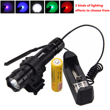 Torch Mount Rifle-Scope Hunting-Flashlight Remote-Pressure-Switch Rechargeable-Battery