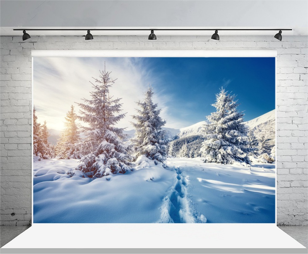 Laeacco Winter Snow Forest Pine Trees Footprints Landscape Photography Backdrops Vinyl Customs Backgrounds For Photo Studio