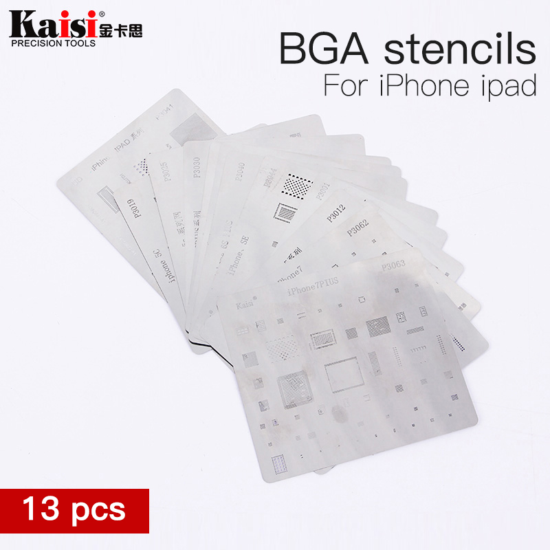13pcs/lot IC Chip BGA Reballing Stencil Kits Set Solder template for iphone X 8 7 6s 6 plus SE 5S 5C 5 4S 4 iPad high quality 9h ultra thin tempered glass for iphone 8 7 6 6s plus screen protector protective glass film for iphone x 5 5s se 4 4s