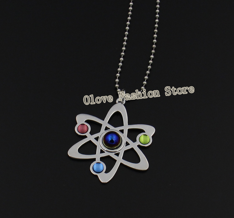 The <font><b>Bigbang</b></font> Theory Atome Necklace,Neutron Design Elements Science Jewelry Atomic Symbol Pendant with Ball Chain image