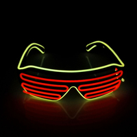 2016 New Arrival Random Colours EL Wire Neon LED Light Up Shutter Fashionable Glasses For Party