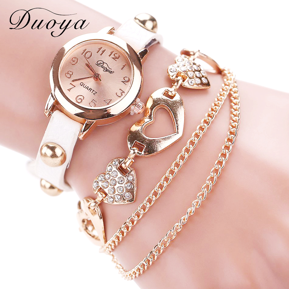 Duoya Brand Fashion Klockor Kvinnor Luxury Rose Gold Heart Läder Armbandsur Ladies Armband Chain Quartz Clock Christmas Present
