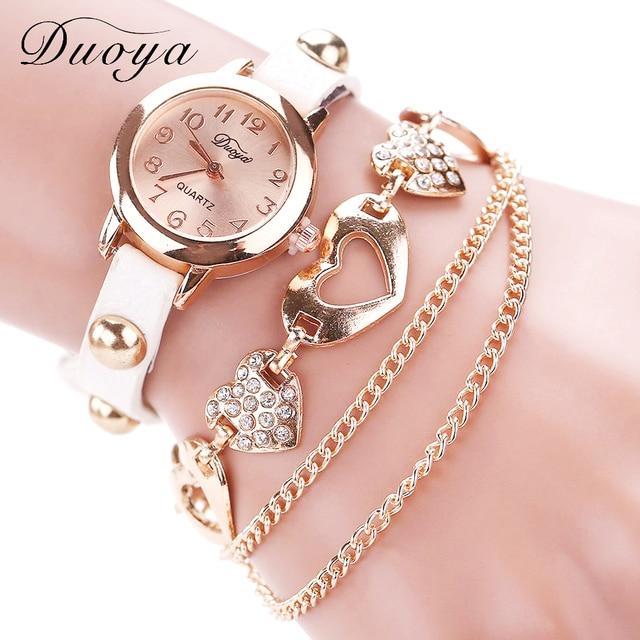 ce31d48d464 Duoya Marca Moda Relógios Das Mulheres De Luxo Subiu Coração de Ouro  Relógios de Pulso Das