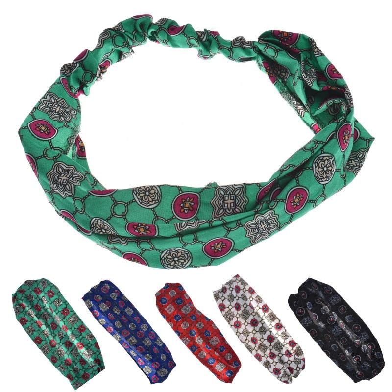 Cheap New Wide Cloth Circle Print Headband for Woman Girls Hair Fashion Turban Headband for Girl Headwrap 2018 New Hairband 1 PC