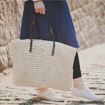 Yirenfang ファッション女性バッグ夏トートバッグわら織わらビーチショルダーバッグ有名なブランドの高級ハンドバッグの女性のバッグデザイナー