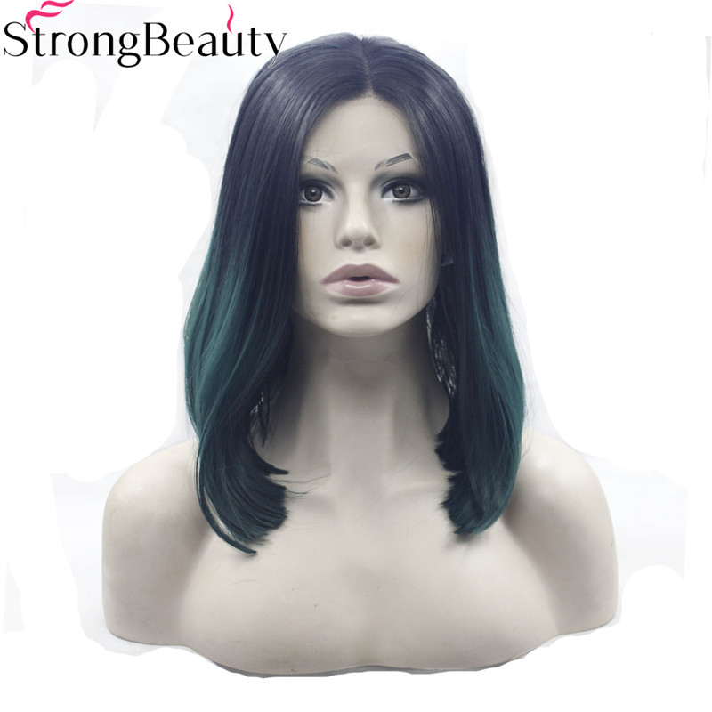 Able Strongbeauty Synthetic Glueless Straight Wigs Short Ombre Dark Green Lace Front Wigs