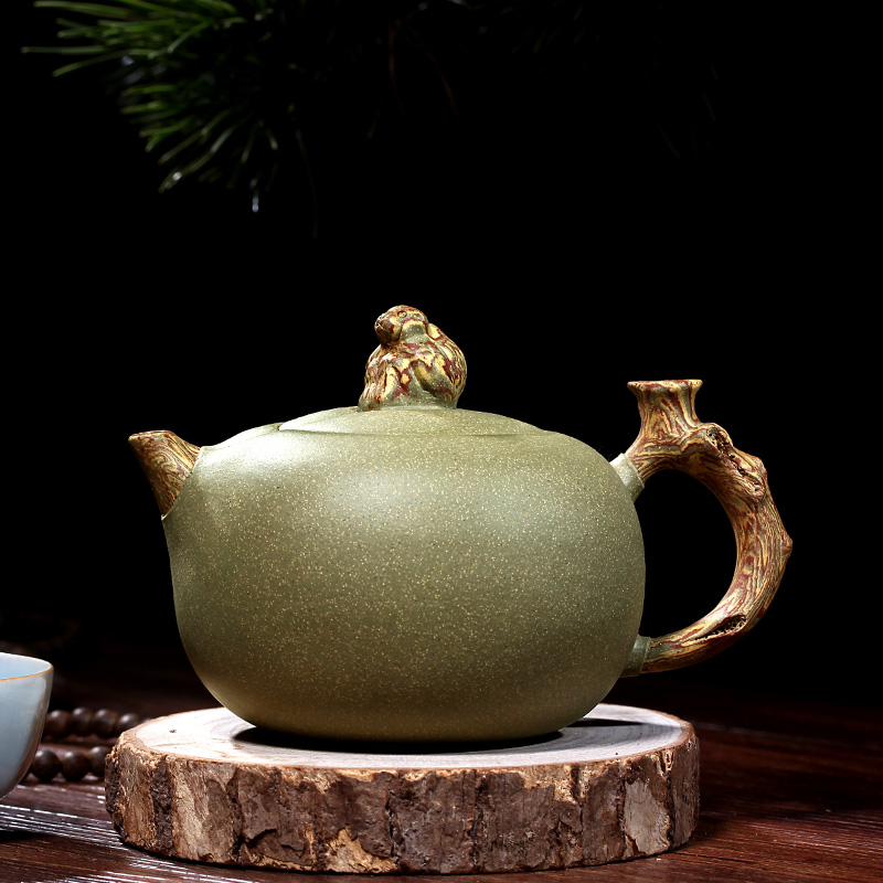 [Source] Li Xiaolu Yixing poterie pure à la main théière théière rare vieux singe vert Xian Rui section