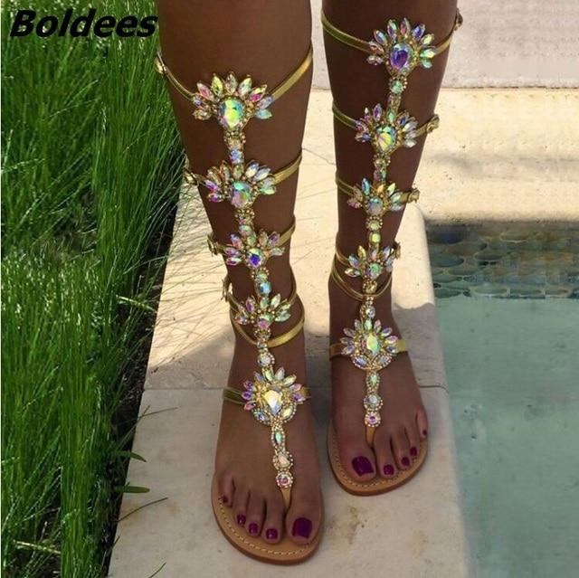 f8450f4f0 Boldees Fashion Knee High Buckle Strap Flat Sandals Summer Rhinestone Women  Gladiator Sandals Bohemia Style Crystal Beach Shoes