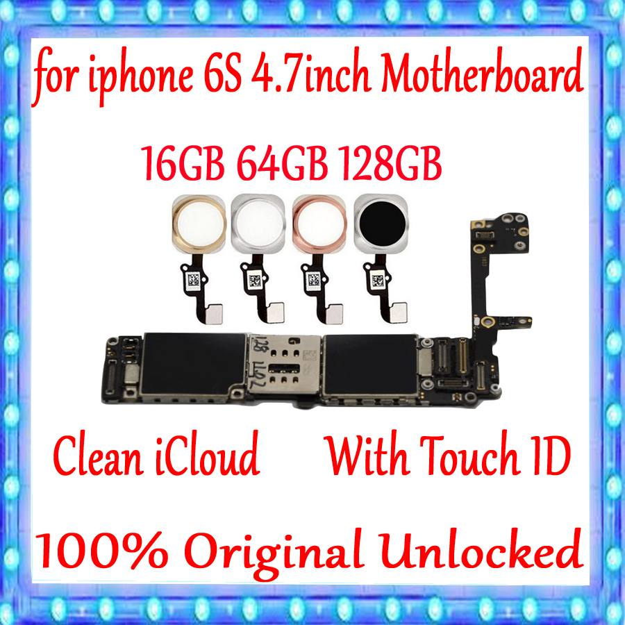 Galleria fotografica Original unlocked for iphone 6S Motherboard With/Without Touch ID,Clean iCloud for iphone 6S 4.7inch Logic board 16gb 64gb 128gb