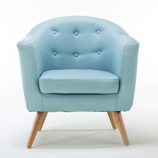 Mid Century Modern Style Sofa / Love Seat With Wood Legs Living Room  Furniture Single Couch Tufted Button Fabric Accent Chair