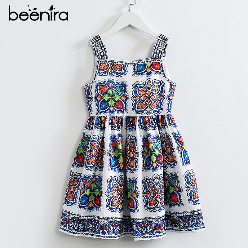 Beenira Girls Summer Dress 2017 New European And American Style Children Pattern Princess Dress Design 4-14Y Baby Clothes Dress beenira children clothes dresses 2017 new summer fashion style girls flower pattern bow princess dress for 4 14y baby girl dress