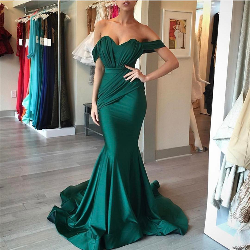 Emerald Green Prom Dresses Long 2017 Off The Shoulder