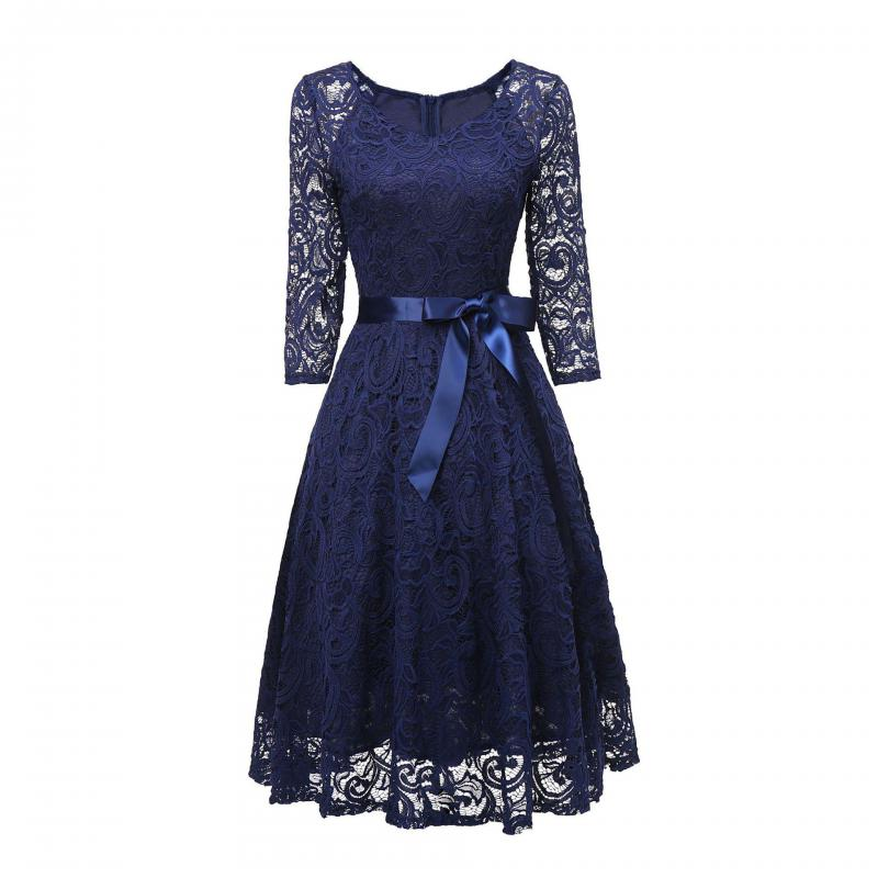 Navy Blue Long Sleeve   Bridesmaid     Dresses   Lace O Necl Women Formal Party Gowns Vestido De Festa A Line Short Wedding   Dress