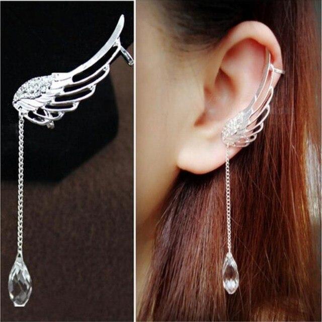 1 Pc Fashion Crystal Rhinestone Wing Ear Cuff Earrings Long Silver Angel Clip