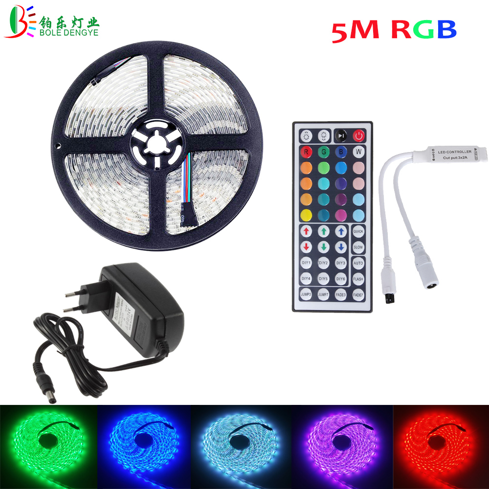 BOLE DENGYE RGB LED Strip 5050 5M 10M 2M 3M Waterproof Flexible Diode Tape 44Key IR Remote RGB Controller 12V LED Adapter