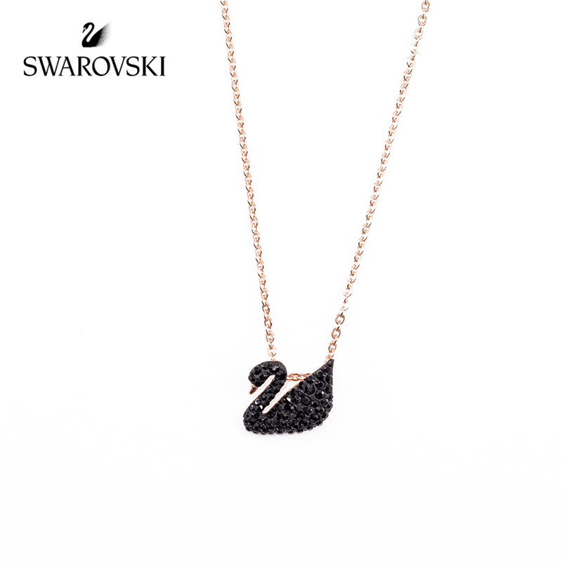 7f84609191f4f US $88.37 44% OFF|Original Genuine Swarovski Crystal Black Swan Necklace  Lady's Birthday Gift 5204133-in Necklaces from Jewelry & Accessories on ...