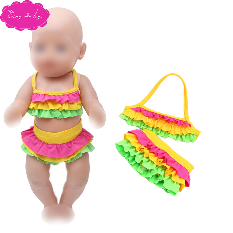 43 Cm Baby Dolls Clothes Rainbow Strap Bathing Suit 2 Pcs Swimwear Bikini Skirt Dress Accessories Fit 18 Inch Girl Doll F137 To Enjoy High Reputation In The International Market