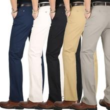 Весна Лето Тонкий костюм брюки мужчины среднего возраста Хлопок Слаксы высокой талии прямые Свободные Твердые деловые повседневные брюки отец папа
