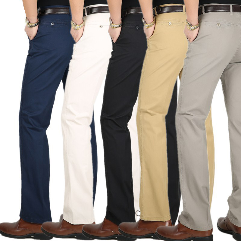 Spring Summer Thin Suit Pants Men Middle-aged Cotton Slacks High Waist Straight Loose Solid Business Casual Pants Father Dad