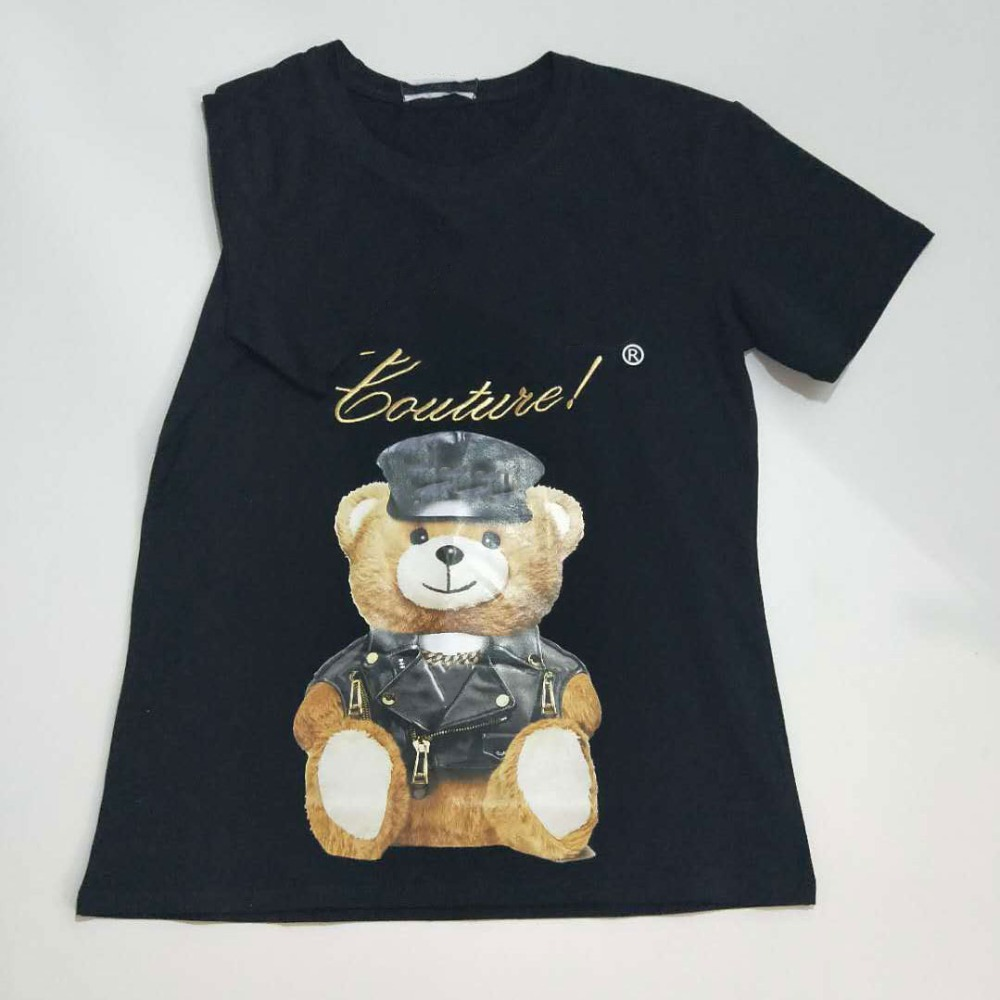 2019 new women t shirt Embroidered gold letter leather hat bear round neck loose version short sleeved men and women