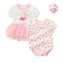 Одежда для новорожденных девочек Милая летняя одежда для маленьких девочек боди с фламинго для детей 0-3-6-9 месяцев roupa infantil